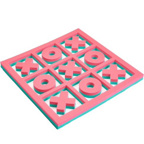 Floatation iQ H2O 3 In A Row Tic Tac Toe Floating Foam Swimming Pool Game Board Mat with 5 X and 4 O Game Pieces, 2x2 Foot Mini, Turquoise/Pink - image 1 of 4