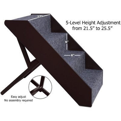 Arf Pets Wood Dog Stairs, 4 Levels Height Adjustment Wide Pet Steps for Dogs and Cats, Foldable