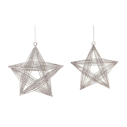 """Melrose 2ct Glittered 3-D Wire Frame Star Christmas Ornament Set 8.25"""" - Silver - image 1 of 1"""