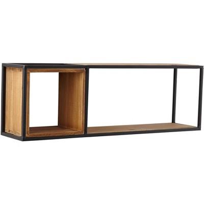 Universal Lighting and Decor Yelm Matte Black Metal and Brown Wood Dual Rectangular Wall Shelf
