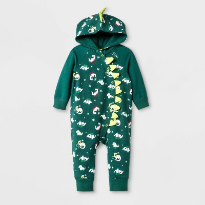 Baby Boys' Hooded Dino Romper - Cat & Jack™ Green 3-6M