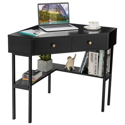Costway Corner Computer Desk Writing Workstation Study Desk w/ 2 Drawers White\Black\Gold