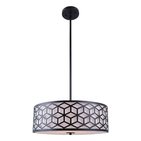 3-way Light Pendant with White Fabric Shade Matte Black - Decor Therapy - image 1 of 4