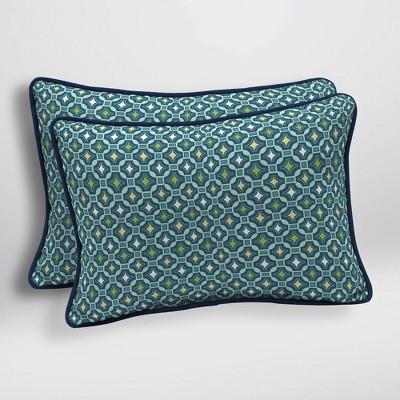 2pk Alana Tile Oversized Outdoor Lumbar Pillows - Arden Selections