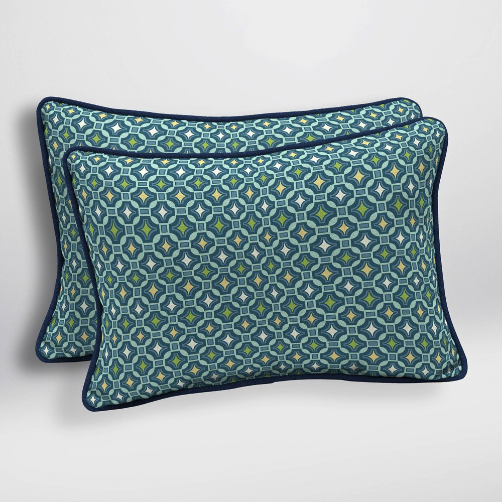 Image of 2pk Alana Tile Oversized Outdoor Lumbar Pillows - Arden Selections, Multi-Colored