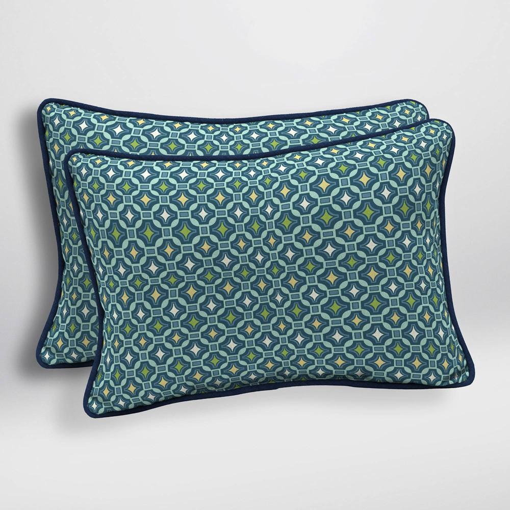 Image of 2pk Alana Tile Oversized Outdoor Lumbar Pillows - Arden Selections