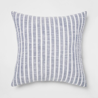 Woven Stripe Square Throw Pillow Blue - Threshold™