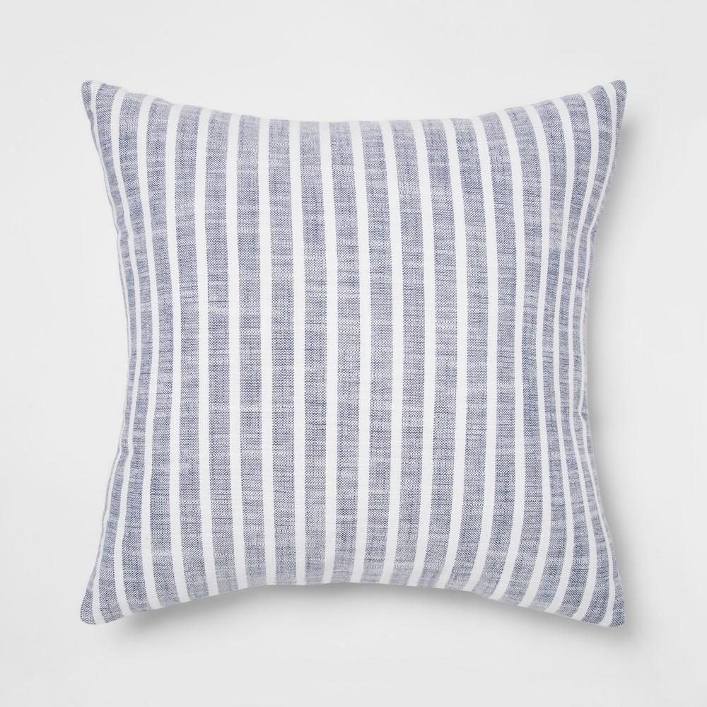 Woven Stripe Square Throw Pillow Blue - Threshold