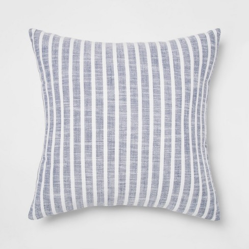 Woven Stripe Square Throw Pillow Blue - Threshold™ - image 1 of 2