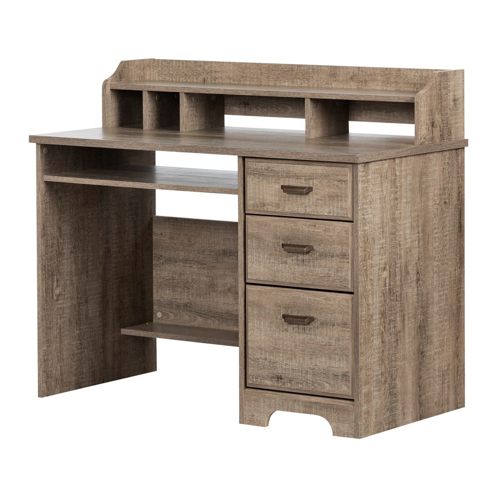 Versa Computer Desk with Hutch Weathered Oak - South Shore