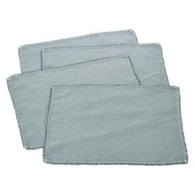 (Set of 4)Blue-Gray PomPom Design Placemat 14 x20  - Saro Lifestyle®