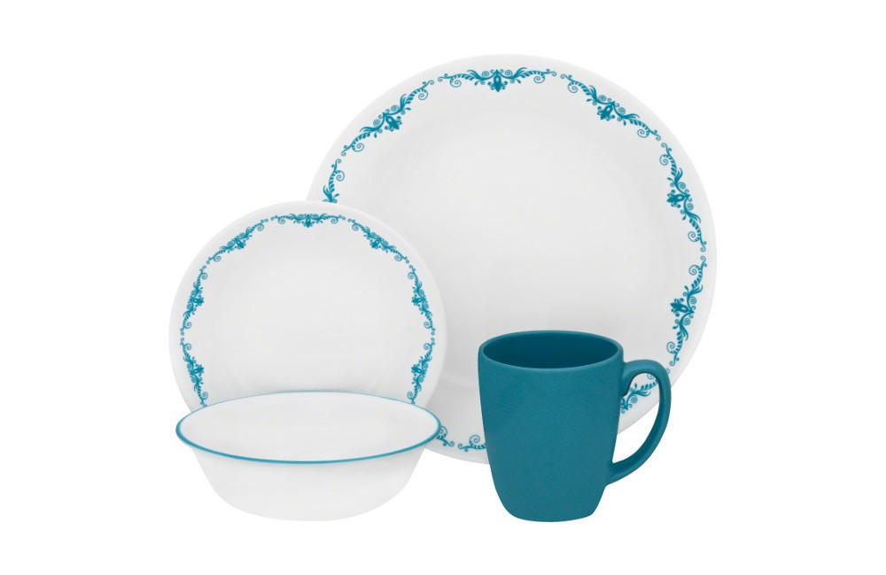 Image of Corelle Livingware 16pc Dinnerware Set Garden Lace, Turquoise