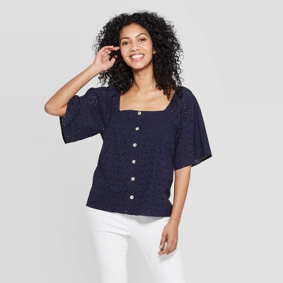 view Women's Short Sleeve Square Neck Eyelet Top - A New Day on target.com. Opens in a new tab.