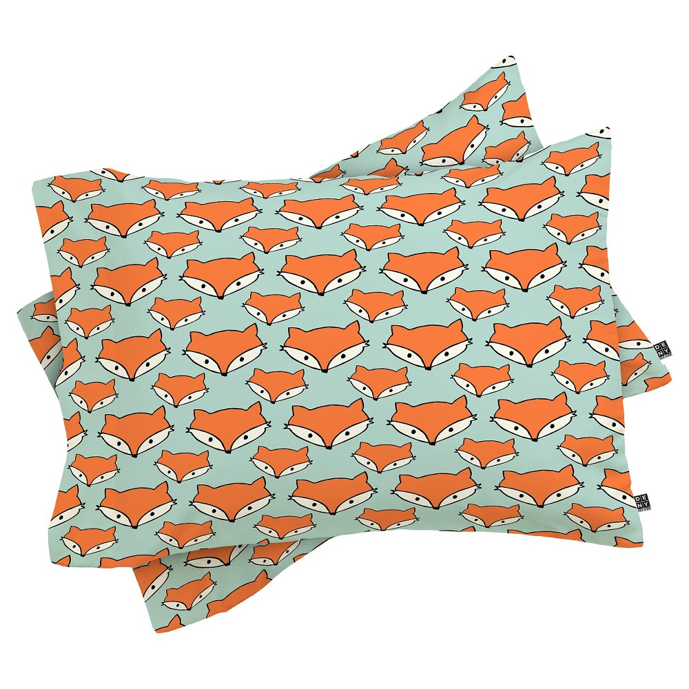 Image of Allyson Johnson So Foxy Lightweight Pillowcase Standard Blue - Deny Designs
