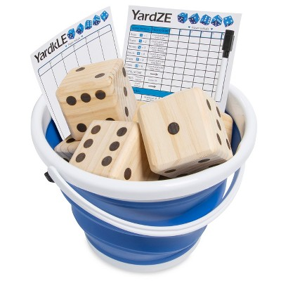 GetMovin Sports Yardzee and Farkle Giant Outdoor Yard Wood Dice Set with Roll Bucket and Scorecards for Kids and Adults