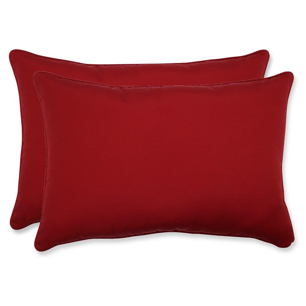 2 Piece Outdoor Toss Pillow Set Red 24
