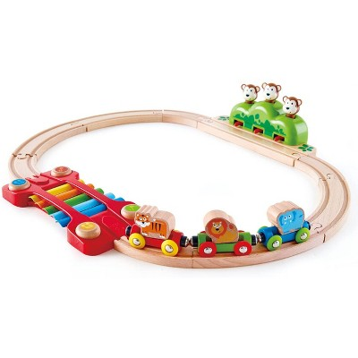 Hape Music and Monkey Fun Railway Train Set Toy with Colorful Xylophyone Melody Track for Toddlers 18 Months and Older
