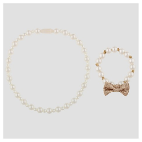 Toddler Girls' Necklace and Bracelet Set with Pearls and Gold Bows Cat & Jack™ Gold - image 1 of 1