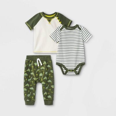 Baby Boys' 3pc Dino Short Sleeve Top & Bottom Set - Cat & Jack™ Green 0-3M