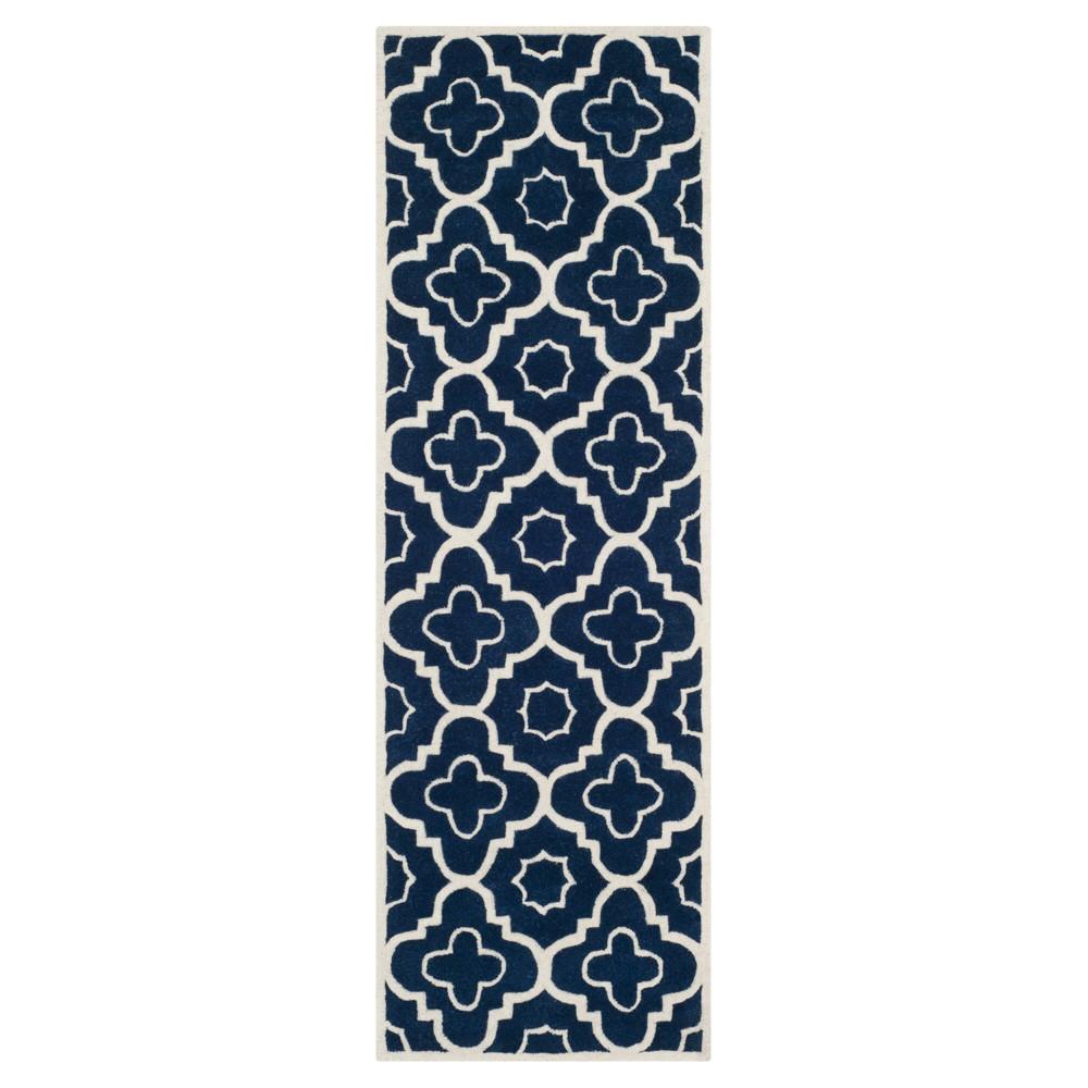 Dark Blue/Ivory Abstract Tufted Runner - (2'3x11' Runner) - Safavieh