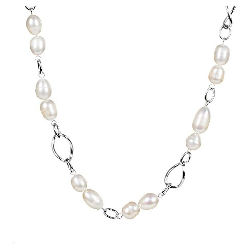 Women's ELYA Stainless Steel Necklace With Peach Freshwater Pearls - image 1 of 4