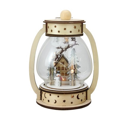 """Roman 9.75"""" Clear and Beige LED Woodland Christmas Dome Lantern Tabletop Decoration"""