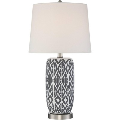 360 Lighting Southwest Accent Table Lamp White Gray Ceramic White Drum Shade Living Room Bedroom Bedside Nightstand Office Family