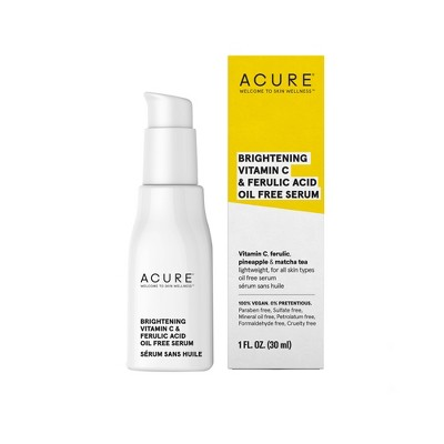 Acure Brightening Vitamin C & Ferulic Acid Oil Free Serum For Face - 1 fl oz