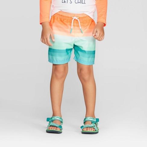Toddler Boys' Ombre Stripe Swim Trunks - Cat & Jack™ Orange - image 1 of 3
