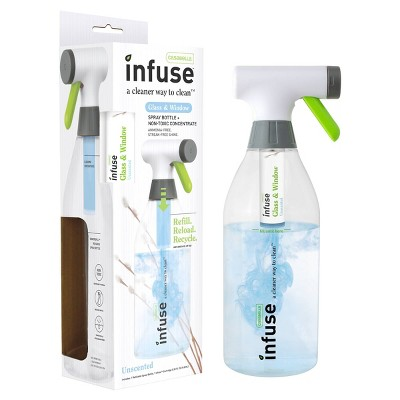 Casabella Infuse Glass Cleaner - 1 Refillable Spray Bottle 1 Cleaning Spray Concentrate - Fragrance Free