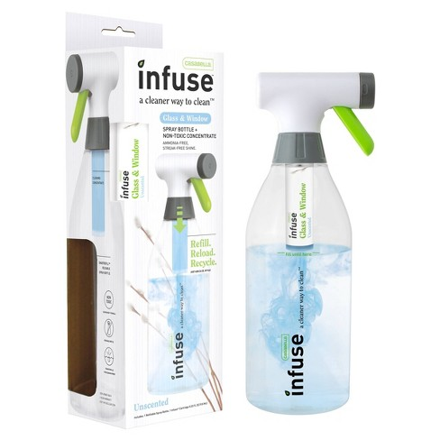 Casabella Infuse Glass Cleaner - 1 Refillable Spray Bottle 1 Cleaning Spray Concentrate - Fragrance Free - image 1 of 4