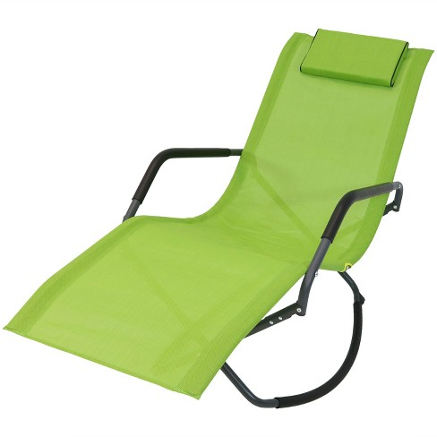 Tremendous Rocking Chaise Lounge Chair With Headrest Pillow Green Sunnydaze Decor Forskolin Free Trial Chair Design Images Forskolin Free Trialorg