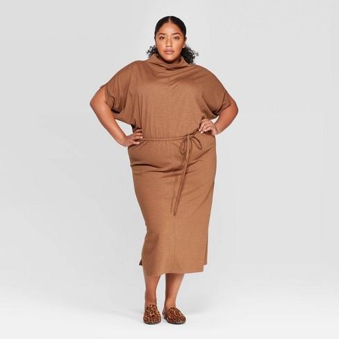 Women\'s Plus Size Elbow Sleeve Turtleneck Dress - Prologue™ Brown X