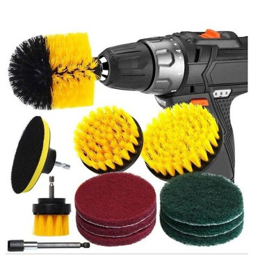 12 Pcs Drill Brush Attachment Set For Cleaning - Power Scrubber, Drill Brush Pad Sponge Kit With Extend Attachment, For Cleaning Bathrooms, Kitchens