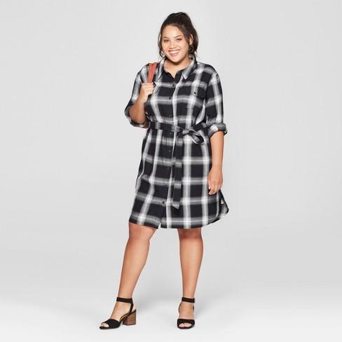 Womens Plus Size Plaid Shirt Dress Universal Thread Black Target