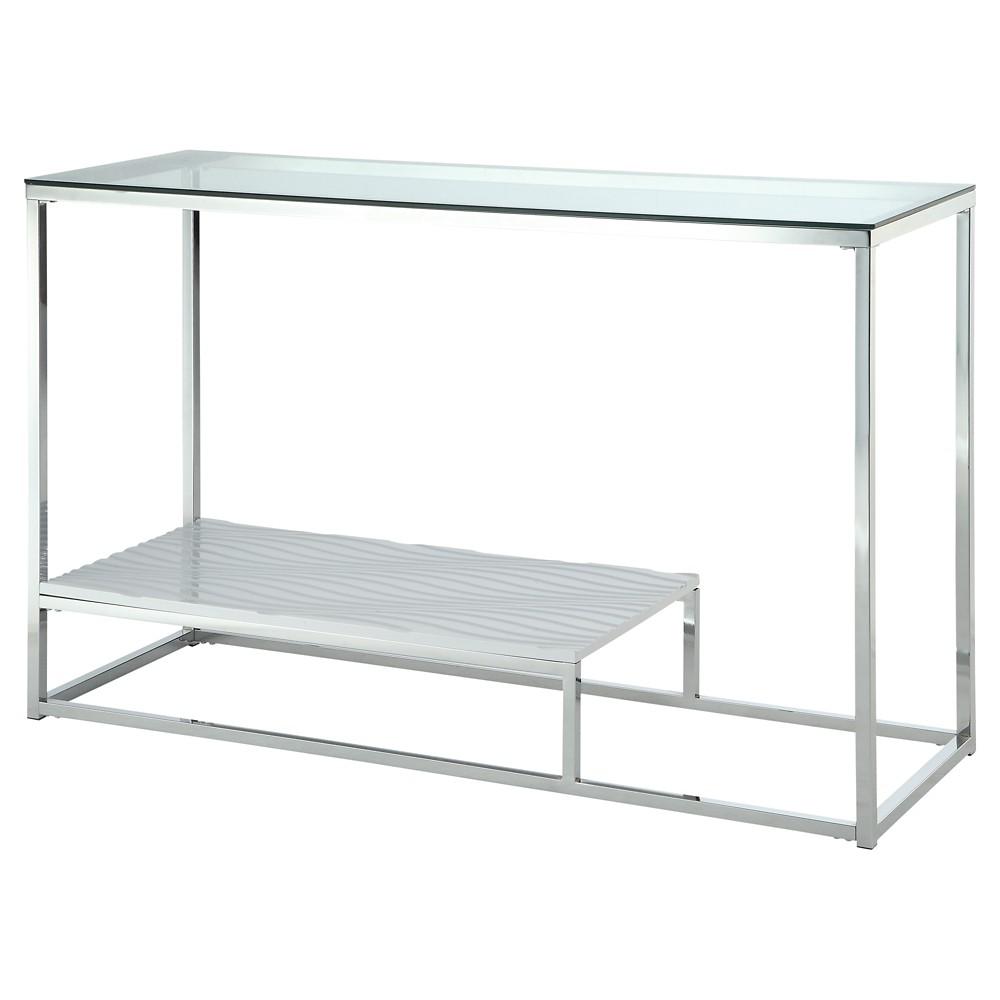 ioHomes Tressie Chrome Glass Top Sofa Table White, Winter White