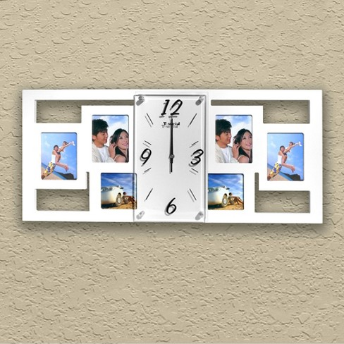 Wall Clock with 6 Photo Frames White - Creative Motion Industries ...