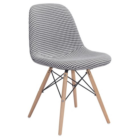 Mid-Century Modern Upholstered Metal and Beechwood Dining chair - Houndstooth - ZM Home - image 1 of 5