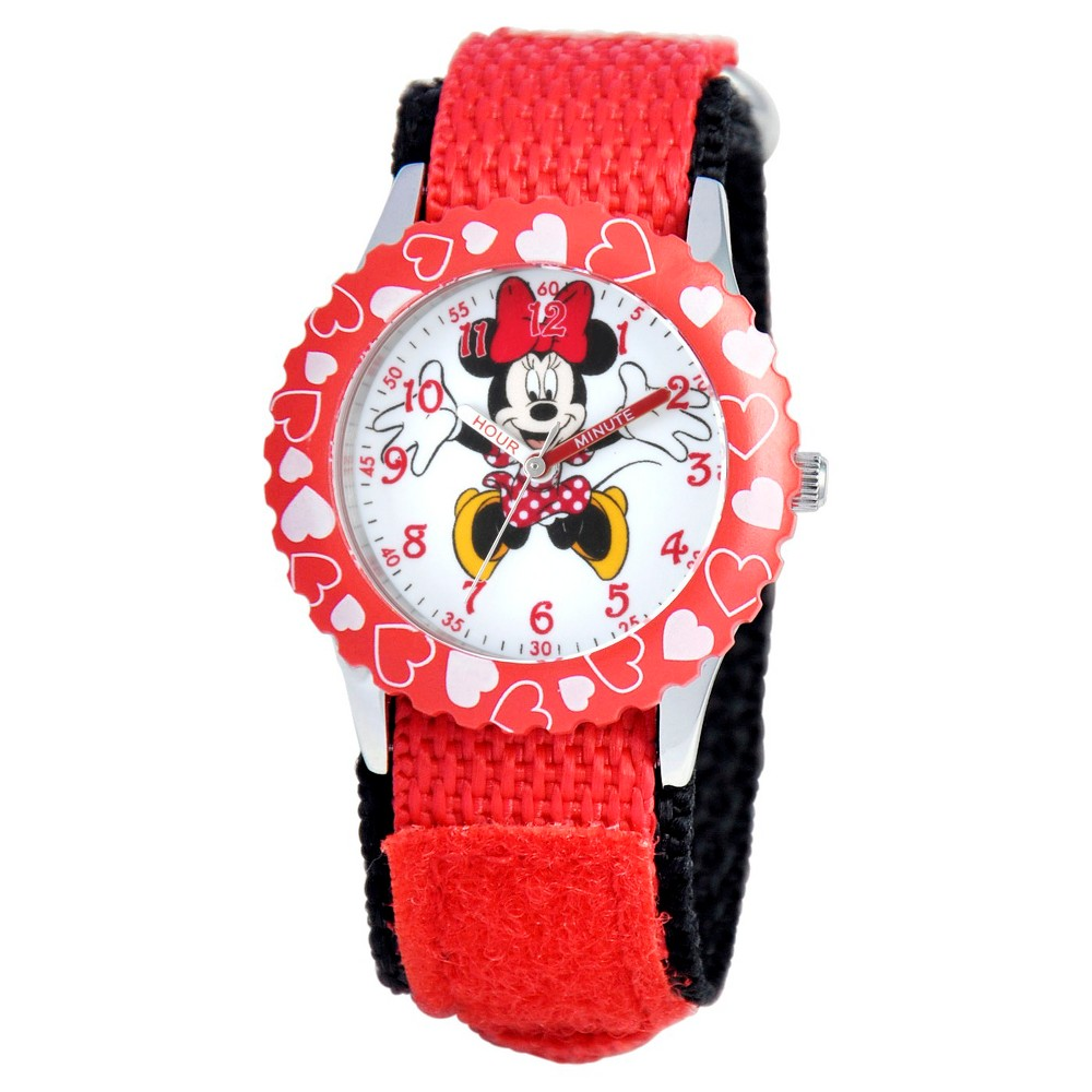 Girls' Disney Minnie Mouse Stainless Steel Case with Bezel Watch - Red