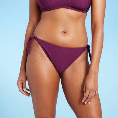 Women's Side-Tie Textured Cheeky Bikini Bottom - Shade & Shore™ Acai
