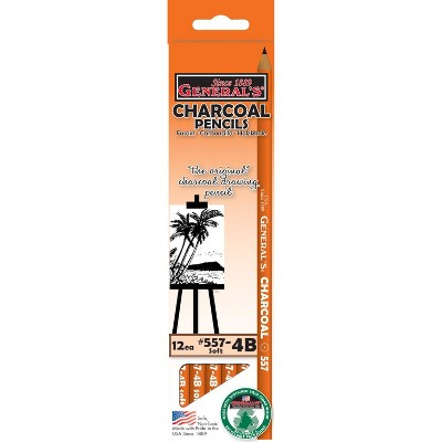 General's Extra Smooth Non-Toxic Top Quality Charcoal Pencil, 4B Tip, Black, pk of 12