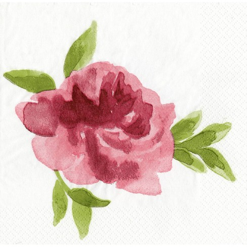 30ct Floral Disposable Napkins Burgundy - Spritz™ - image 1 of 1