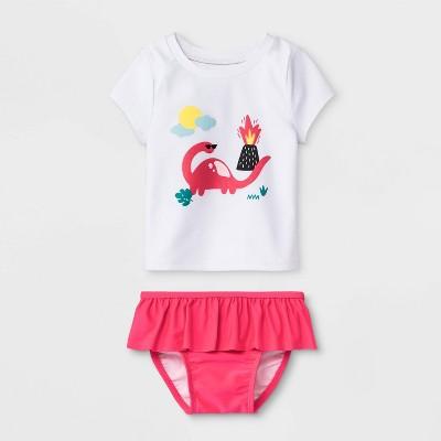 Baby Girls' Short Sleeve Rash Guard Set - Cat & Jack™ White 12M
