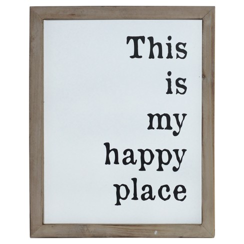"Happy Place Wall Décor White (12""x15"")"