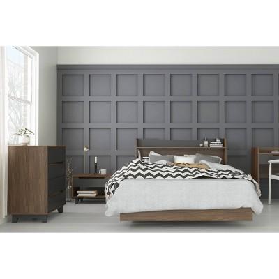 4pc Full Neptune Bedroom Set Walnut/Charcoal - Nexera