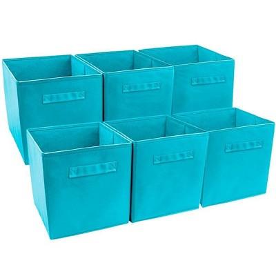 Sorbus 6pk Foldable Storage Cube Basket Bin Aqua
