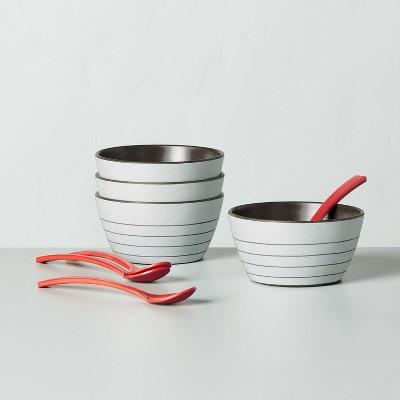 8pc Bamboo Melamine Stripes Dessert Bowl & Spoon Set Light Gray - Hearth & Hand™ with Magnolia
