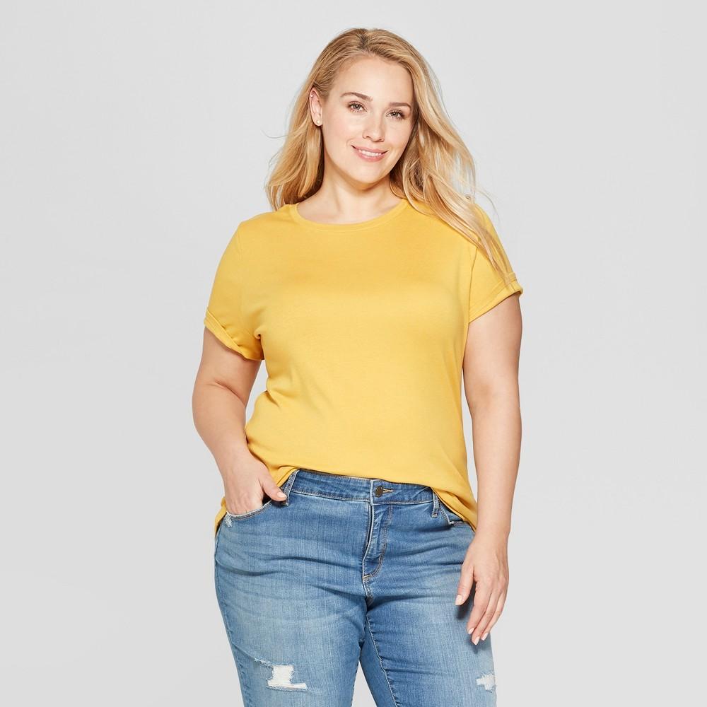 Women's Plus Size Short Sleeve Crew Neck T-Shirt - Ava & Viv Yellow 1X