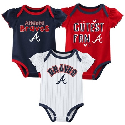 MLB Atlanta Braves Baby Girls' 3pk Bodysuit Set