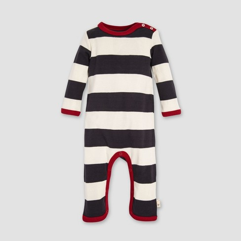 Burt s Bees Baby Organic Cotton Rugby Stripe Coverall   Hat Set -  Cream Gray   Target b4fc5cf6563a